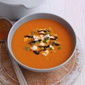 Smoky Carrot Soup with Quinoa Feta