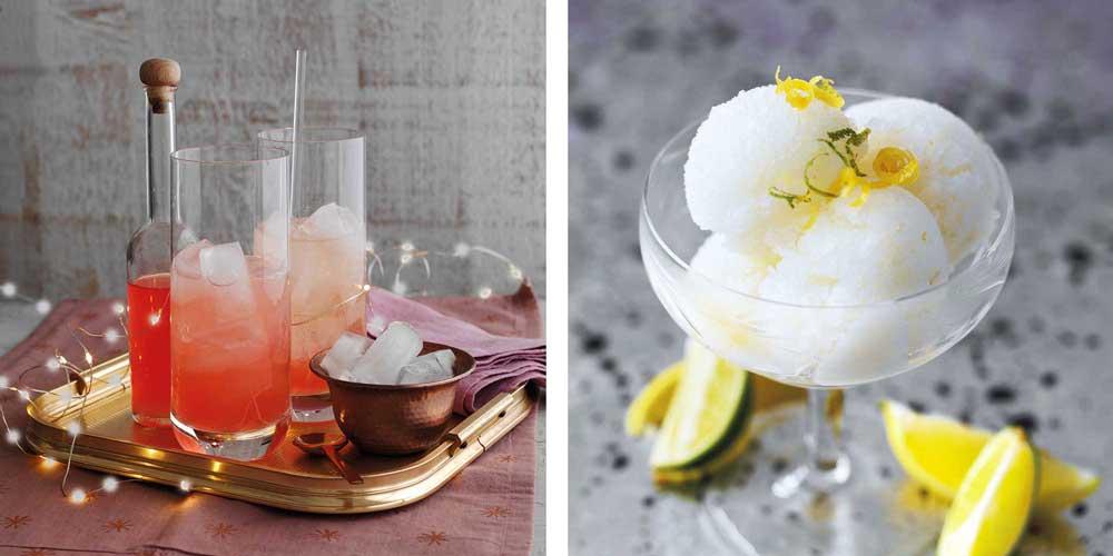 Rhubarb & Custard Cocktail & Gin & Tonic Sorbet