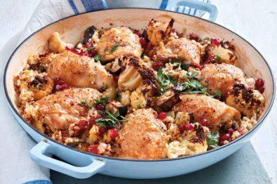 Chicken, Aubergine & Cauliflower Roast with Grains