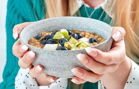 Apple & Pear Quinoa Porridge with Blueberries