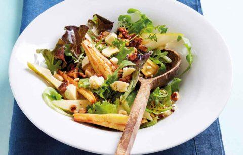 Roasted Parsnip, Pear &Wensleydale Salad