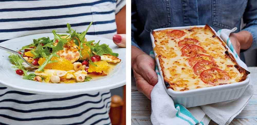 Halloumi Salad and Lasagna Grill