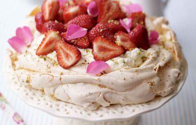 Strawberry Rose Petal & Pistachio Pavlova